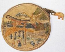 Vintage Japan Mt Fuji village round change purse Elephant plastic charm