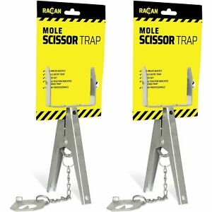 2 x Racan Mole Scissor Trap, Double Entry Pressure Triggered Strong Durable Easy