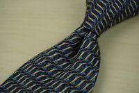 Ermenegildo Zegna Royal Blue Light Brown Spiral Spring 100% Silk Tie