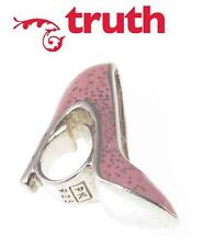 Genuine verdad PK 925 Plata Esterlina & Zapato de Esmalte Brillo Rosa encanto grano