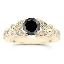 Butterfly Enhanced Black Diamond Engagement Ring 1.34 Carat 14k Yellow Gold