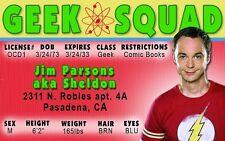 The Big Bang Theory SHELDON plastic collector card Drivers License