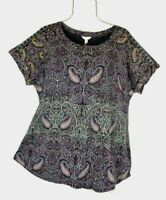 Lucky Brand Women's 1X Fall Black Multi-color Paisley Print Top NWT