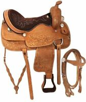 Y&Z Enterprises Western Premium Leather Western Racing Horse Saddle 14-18 Seat