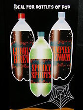 Halloween bottle labels ,spooky spirits,ghouls brew, and vampire venom set of 3