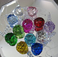 Crystal Prism Ornament Set, a Dozen  30mm Ball Spheres, Beaded and Ready to Hang
