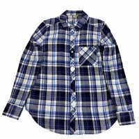 WOOLWICH Women S Flannel Shirt Plaid Button Front Long Sleeve Blue Cotton New