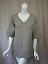 Soft Surroundings Taupe Short Sleeve Top Blouse size M Excellent