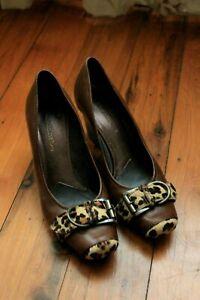 Matisse Brown Cheetah Buckle Trim Leather Cuban Heels Size 8.5 $230 Made Brazil