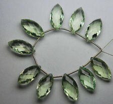 Green Amethyst Hydro Quartz Faceted Marquise Shape Beads Strand 10x18mm 10 Pcs
