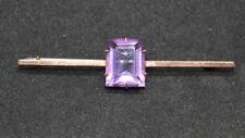 9ct amethyst square bar brooch marked 9