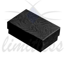 Black Swirl Cardboard Jewelry Boxes Black Foil Cotton Gift Boxes 12-25-50-100