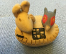 Rabbit and Bird In a Pie Playing Noughts & Crosses! Tiny Pottery Ornament.