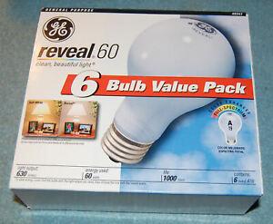 Lot of 6 GE Reveal 60 Watt A19 Incandescent Light Bulbs (#49347), New