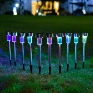 12pk Solar Light Pathway Outdoor Garden Stake Walkway LED Lighting Multi-Color