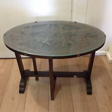 Decorative Glass Top Asian Folding Table With Carved Detail