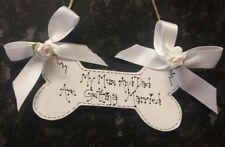 shabby chic personalised dog bone wedding pet plaque sign keepsake gift