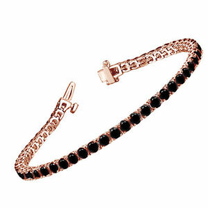 2.43 Ct Black Round Diamond Line Prong Set Bracelet 14k Rose Gold For Women