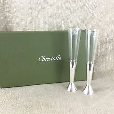 Christofle Champagne flauti Crystal & SILVER PLATE ADAM tihany RRP £ 320