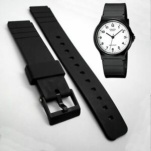 WATCH STRAP to fit CASIO MQ-24 Black Resin 16mm PVC Rubber New Replacement Band