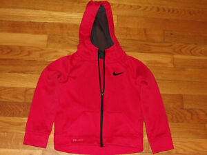 NIKE DRI-FIT RED FULL ZIP HOODED ATHLETIC JACKET BOYS SIZE 4T NICE CONDITION