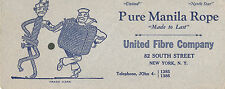 c1920 Advertising Blotter, United Fibre Company Pure Manila Rope, Cartoon Rope P