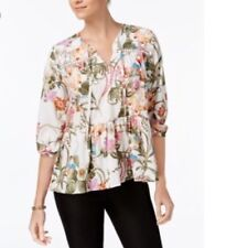 Olivia & Grace Floral Printed Peasant Top Blouse Long Sleeve Multi S NWT
