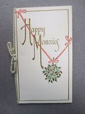 ANTIQUE Christmas Card Embossed Happy Memories Holly G Delgado Union Jack Series