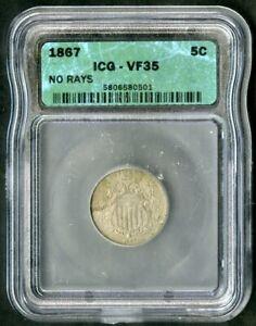 US Coin 1867 Shield Nickel ICG VF35 NO RESERVE!