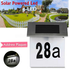 Solar Powered 4 LED House Door Address Number Light Plaque Modern Digits Plate