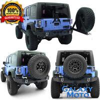 Rock Crawler Recovery Full Rear Bumper+Tire Carrier for 07-18 Jeep JK Wrangler