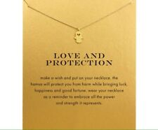 Hamsa Hand Love And Protection Gold Style Happiness Fortune Wish Necklace