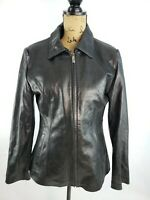 James & John size Large women's Genuine Leather Black Front Zip Biker Jacket P88
