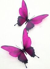 4 Dark Fuchsia 3D Butterflies Home Bedroom Furniture Decorations Bathroom Mirror