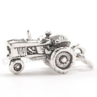 TRACTOR Charm Farm Pendant STERLING SILVER solid 925 .925 3D