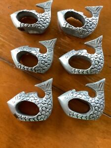"""6 FISH NAPKIN RINGS, HOLDERS, CAST ALUMINUM, DETAILED, 3"""" X 2"""", MADE IN INDIA"""