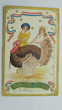 1901 Vintage American Thanksgiving Postcard Turkey Children Stars & Stripes