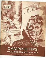 """Booklet For Sears """"Camping Tips"""" from Sir Edmund Hillary 1980"""