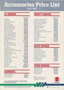 Suzuki Accessories Price List 1985 UK Market Single Sheet Brochure SJ Alto Swift