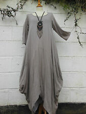 "LAYERING MAXI DRESS BEIGE BALLOON SHAPE 40"" - 46"" bust  BNWT LAGENLOOK ETHNIC"