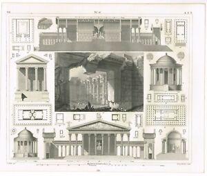 VINTAGE ANTIQUE PRINT 1851 ENGRAVING ARCHITECTURE GREEK ROMAN BAALBEC TEMPLE