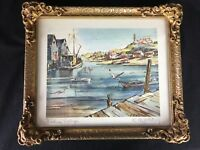 Edgar A WHITNEY Watercolor Print Signed Fishing Village Nova Scotia Framed E A