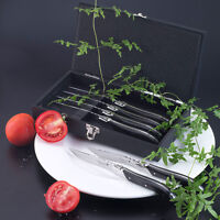 6pcs Laguiole Style Dinner Fork Knife Black Wood Handle Stainless Cutlery in Box
