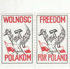 """Stamps Poland 1980's propaganda """"Freedom for Poland"""" pair labels Muh"""