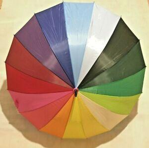 Ladies Rainbow Umbrella Walking Stick Style Fashion Brolly X-Brella  Vibrant NEW