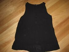 LADIES CUTE BLACK PART BUTTON SLEEVELESS TOP BY COTTON ON SIZE M - AUS 10/12