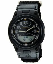 Casio Men's Analog Digital World Time Data bank Casual Cloth Watch AW-80V-1BVDF