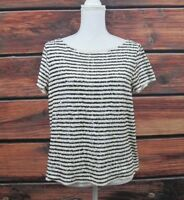 J.Crew Top Striped Sequin Short Sleeve Woman's Large Black Ivory Full Glam Top L