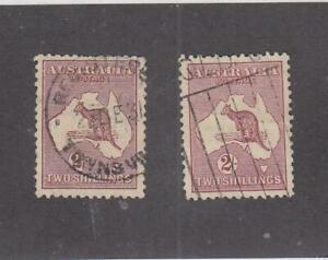 AUSTRALIA (MK4885)  # 99,125  VF-USED 2sh  2 KANGAROO & MAP / RED BROWN  CAT $35