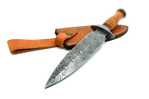Damascus Hand Forged Fix Blade Hunting/Bushcraft Dagger Knife 13 Inches
